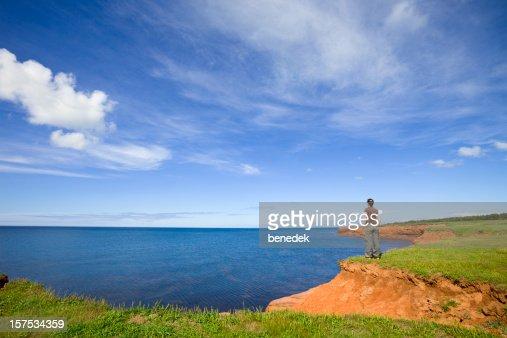 Woman Enjoying Seashore View