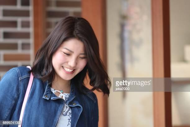 Woman enjoying shopping  in Kyoto