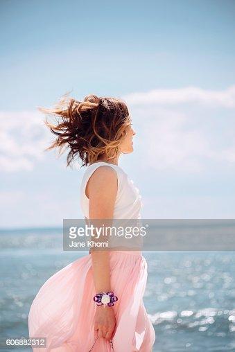 Woman enjoying summer vacation