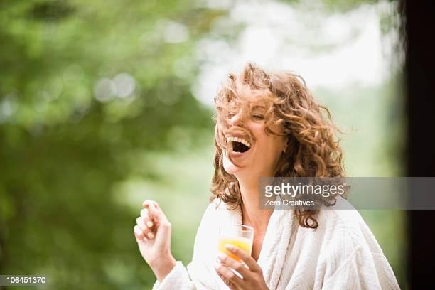 Woman enjoying the early morning