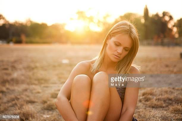 Woman enjoying the meadow