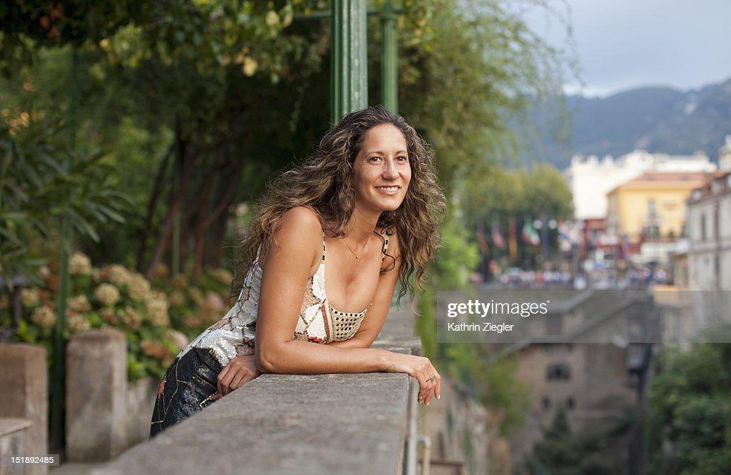 woman enjoying the view of Sorrento Bay, Italy : Stock Photo