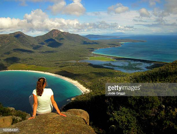 Woman enjoying the view of Wine Glass Bay