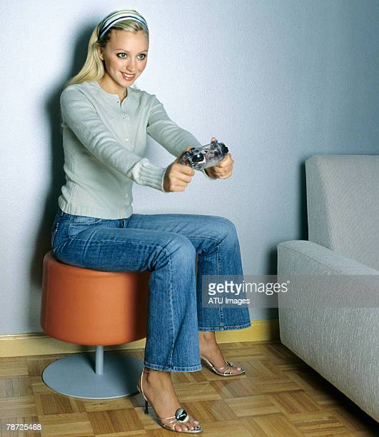 Woman Enjoying Video Game