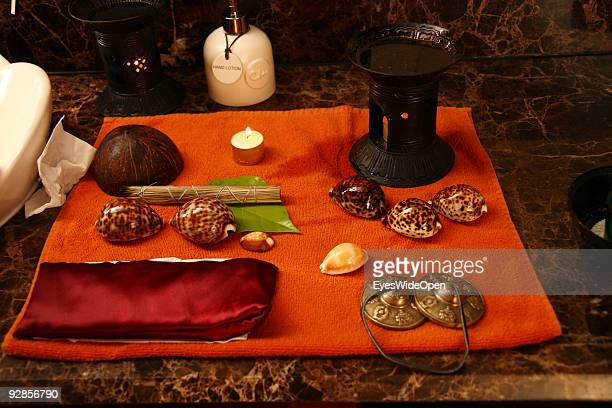 Woman enjoys a Ayurveda health treatment with a Kauri shell in the luxurious ShangriLa's Villingili Resort and Spa Hotel on September 27 2009 in Male...