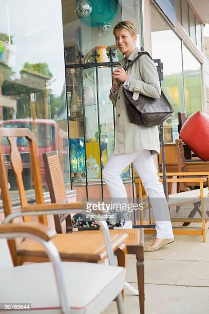 Woman entering in a store