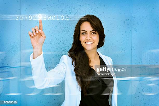 Woman entering password