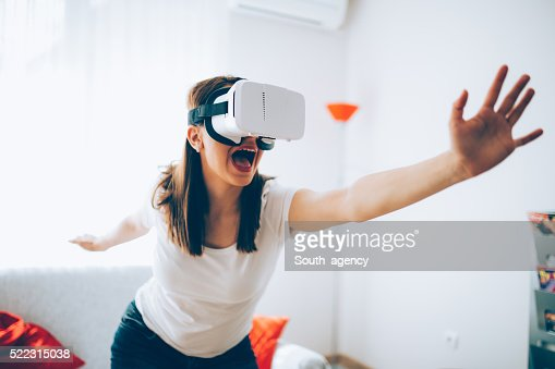 Woman escaping virtual world
