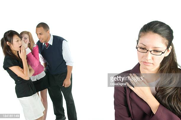Woman excluded from the group stock image