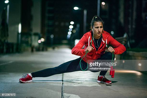 Woman exercising and stretching