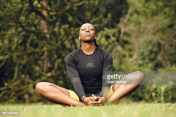Woman exercising in morning at the park