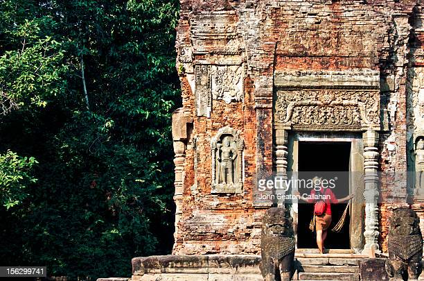 woman exploring temple