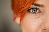 Close up shot of woman eye  looking at camera