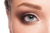 Close-up image of beautiful woman blue eye with bright fasion makeup