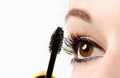 Woman eye with mascara isolated