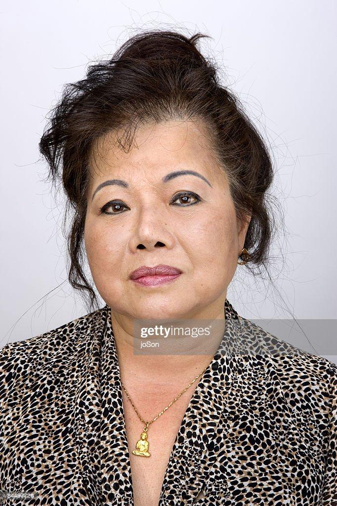 Woman face, close-up portrait : Stock Photo