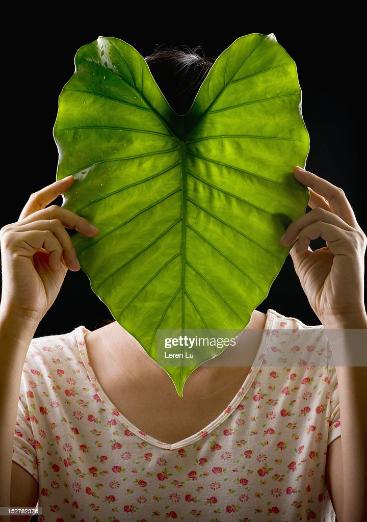 Woman face covered by green leaf : Stock Photo