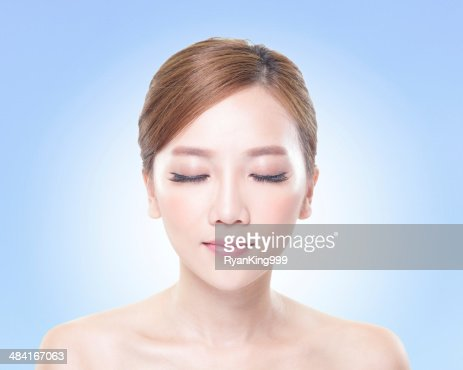 woman face relax closed eyes : ストックフォト