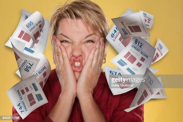 Woman, Falling Credit Reports