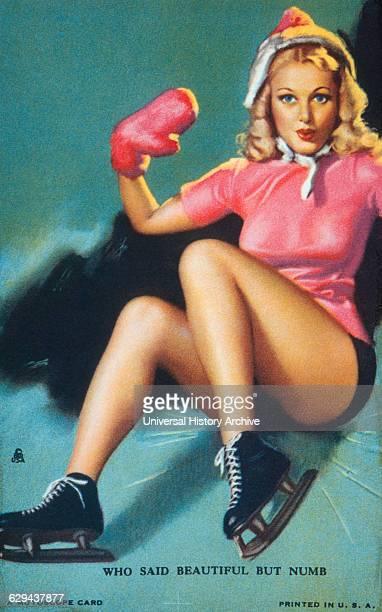 Woman Falling while Ice Skating Mutoscope Card Who said Beautiful but Numb circa 1940