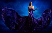 Woman Fashion Dress, Blue Gown Flying Silk Fabric, Elegant Model in Waving Purple Cloth