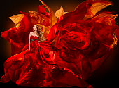 Woman Fashion Dress Flying Red Fabric, Beautiful Girl with Waving Silk Cloth on Wind