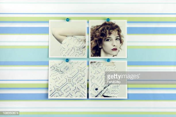 Woman Fashion Portrait Pinned on Wallpaper