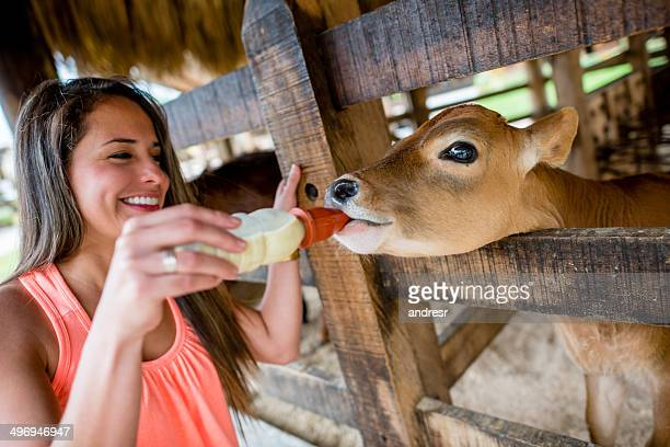 Frau Füttern eine Kuh
