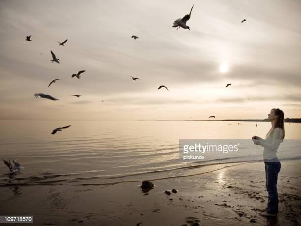Mujer lactancia gaviotas en la playa