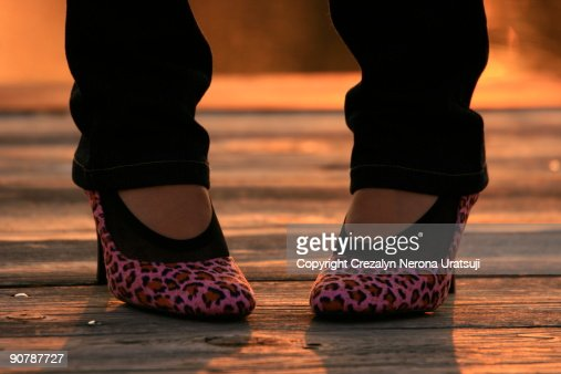 Woman feet wearing new shoes