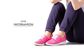 Woman female legs sport pants sneakers sport exercises pattern on a white background isolation