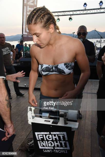 Woman Fighter Marina Spasic attends the Fight Night Weighing Party at La Bouillabaisse Saint Tropez on August 3 2017 in SaintTropez France