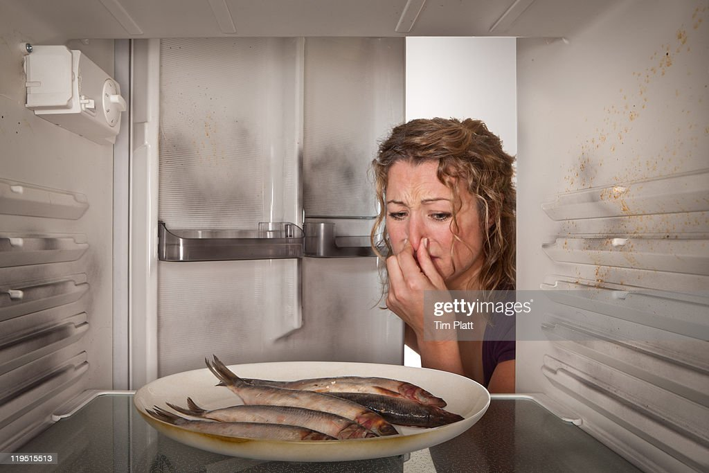 Woman finds old fish in the fridge : Stock Photo