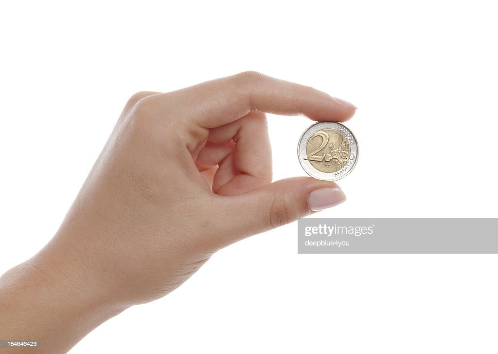 two euro in woman hand