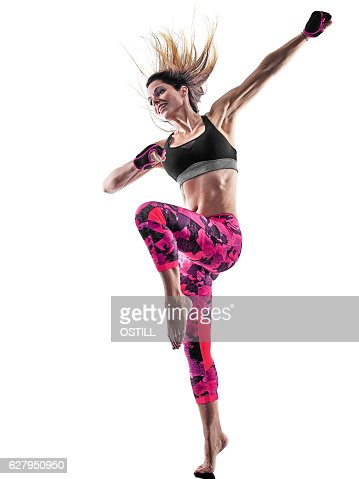 woman fitness boxing pilates excercises isolated : Stock Photo