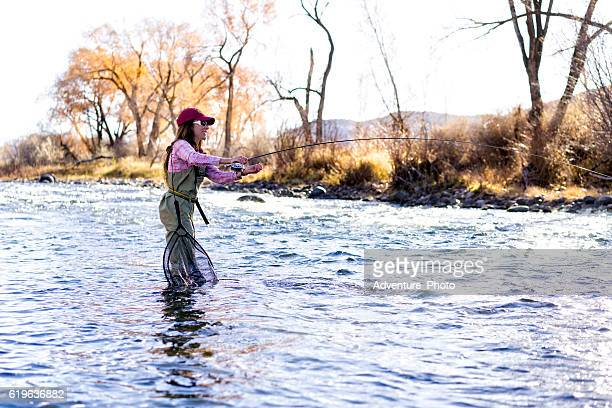 Woman Fly Fishing on Eagle River