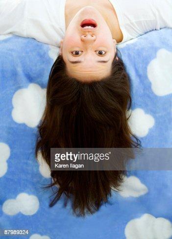 Woman ''flying'' or ''falling'' upside down