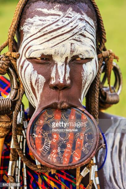 Woman from Mursi tribe with face paint, Ethiopia, Africa