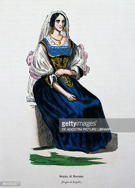 Woman from Potenza traditional Basilicata clothes Italy 19th century