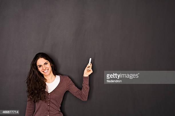 Woman Front of Blackboard