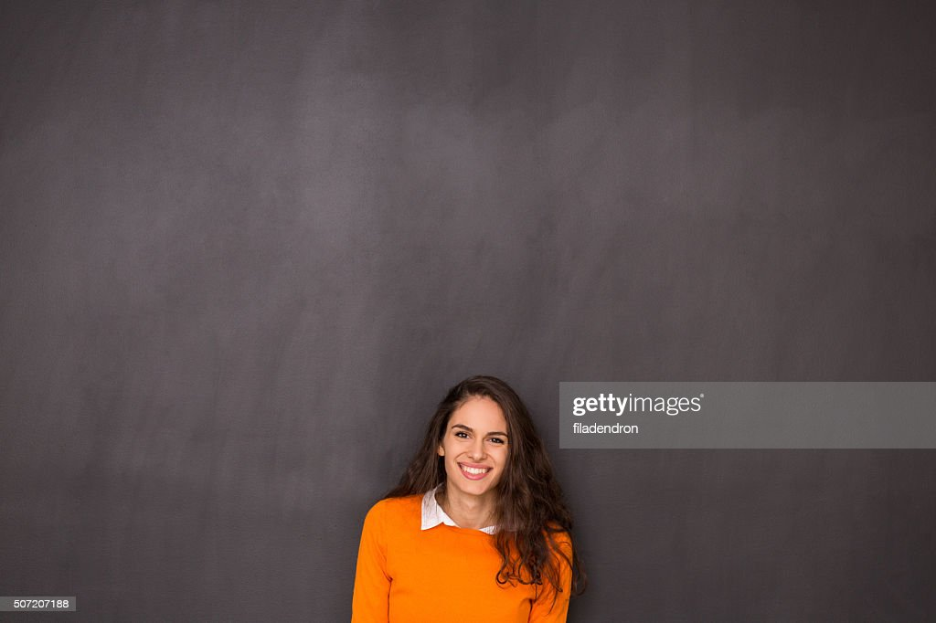 Woman Front of Blackboard : Stock Photo