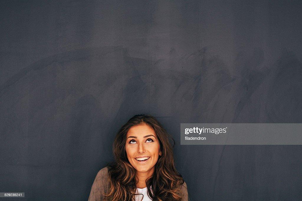 Woman Front of Blackboard : Stock Photo
