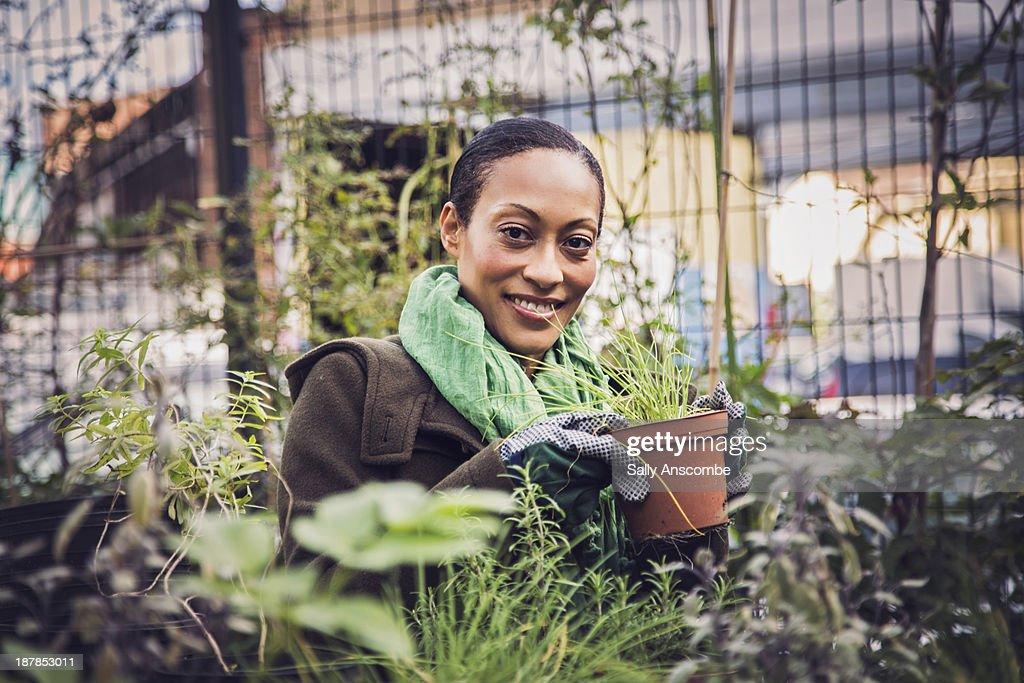 Woman gardening in a city garden