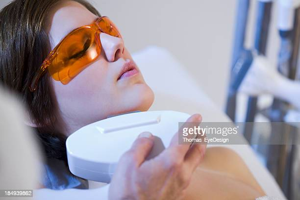 Woman getting Electrolysis Treatment on her Face