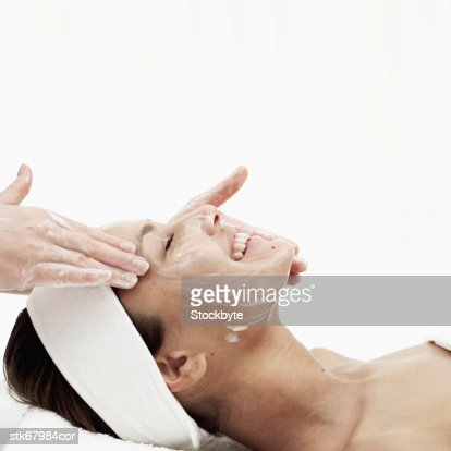 woman getting facial treatment