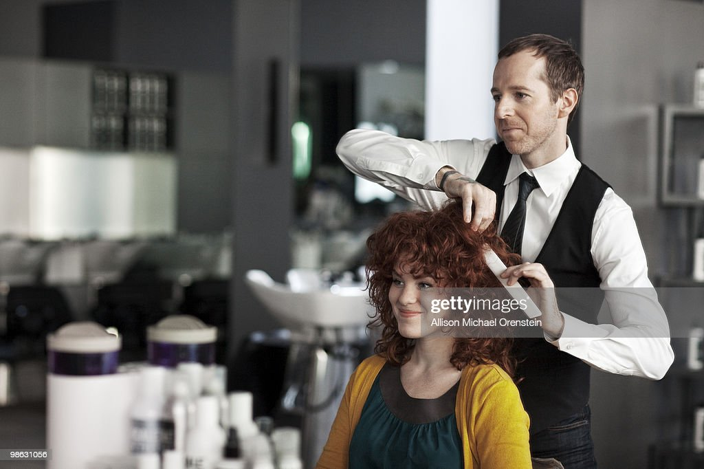 Woman getting hair consultation