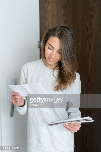 Woman getting the mail