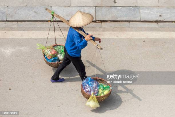 Woman going to Bai Chay marke, in Halong city (vietnam)