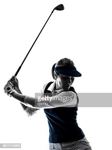 Silhouette Frau Golfer Golf Stock Foto Thinkstock