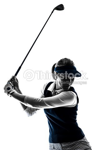 Silhouette Frau Golfer Golf Stock Foto Thinkstock